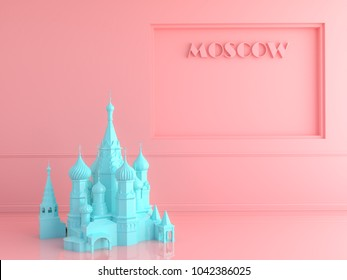 St. Basil's Cathedral . Love travel love moscow concept . 3d render.minimal pastel style