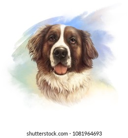 The St. Bernard. Powerful Dog Breeds. Realistic Portrait of Moscow Watchdog on watercolor background. Animal art collection: Dogs. Hand drawn pet illustration. Good for print T-shirt, pillow, pet shop
