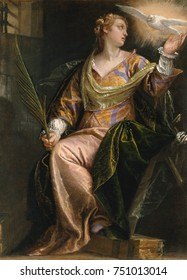 ST. CATHERINE OF ALEXANDRIA IN PRISON, by Paolo Veronese, 1580_85, Italian Renaissance painting. The young saint is comforted by the dove of the Holy Ghost in her dark prison cell. At right are fragme