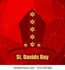St Davids Day greeting card template. Wales national holiday. Catholic hat tiara. Connected lines with dots.