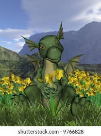 St David's Day, March 1st - baby dragon and daffodils