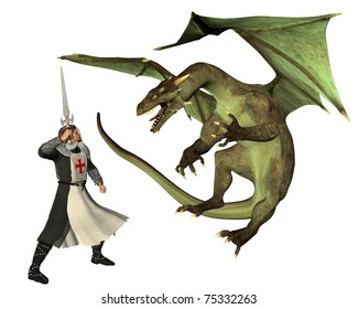 St. George and the Dragon, (the Patron Saint of England, St. George's Day is April 23rd), 3d digitally rendered illustration