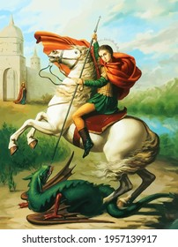 st george legend warrior dragon illustration holy saint crusader