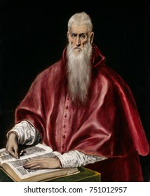 ST. JEROME AS SCHOLAR, by El Greco, 1610, Spanish Renaissance painting, oil on canvas. Jerome is shown in the red vestments of a Roman Catholic cardinal, before an open book, indicating his role as tr