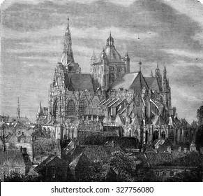 St. John's Cathedral of 's-Hertogenbosch, vintage engraved illustration. Magasin Pittoresque 1877.