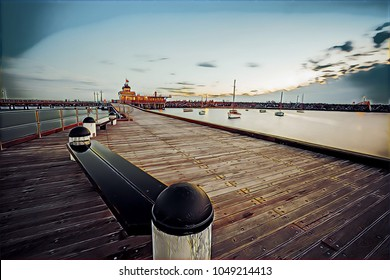 St. Kilda Pier and Pavilion at dusk in Melbourne, Australia - creative illustration