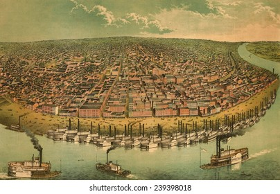 St. Louis, Missouri, as seen from above the Mississippi River. 1850s bird's eye view shows the active waterfront with steamboats. St. Louis was the entry point to the Western frontier.