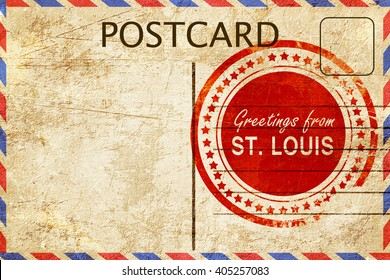 st. lous stamp on a vintage, old postcard