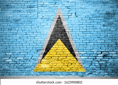St. Lucia Flag Graffiti on Brick Wall