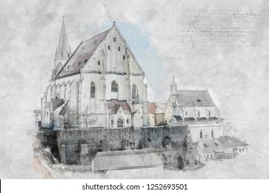 St. Nicholas' Deanery church, Znojmo, southern Moravia, Czech republic. Religious architecture. Travel destination. Illustration.