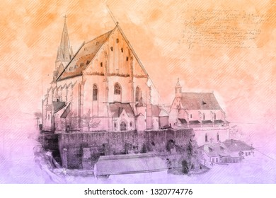 St. Nicholas' Deanery church, Znojmo, southern Moravia, Czech republic. Religious architecture. Travel destination. Illustration with colored filter.