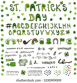 St. Patrick s Day Hand Drawing Full Collectoin Lettering Design Elements Irish symbols. Leprechauns Hat, Horseshoe, Pot of gold, Flag, Beer Mug, Rainbow, Clover. St. Patrick Day. Savoyar Doodle Style.
