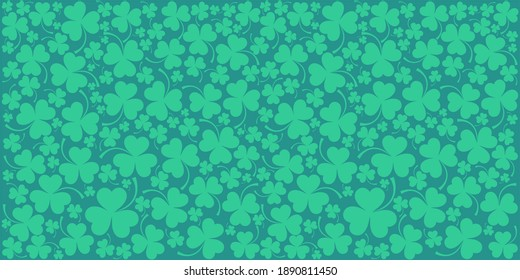 St. Patrick's day background in green colors. Seamless Pattern background with three - leaved shamrocks. St. Patrick's day holiday symbol. Irish symbols of the holiday.17 march. illustration.