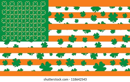 St Patrick's Day Celebrations in America portrayed through the American Flag