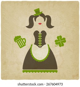 St. Patricks Day girl with beer mug and clover old background -  illustration