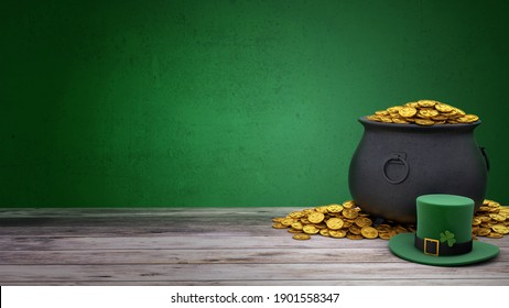 St. Patrick's Day. Green Leprechaun Hat with Clover and Treasure pot full of gold coins. Green background and wooden table. 3d render.