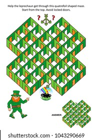 St. Patrick's Day themed rooms and doors maze game or activity page: Help the leprechaun get through the quatrefoil shaped maze. Answer included.