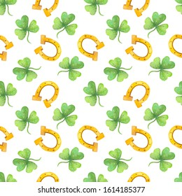 St. Patrick's Day watercolor seamless pattern - clover, horseshoe, pot of gold on white background.