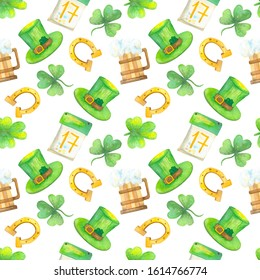 St. Patrick's Day watercolor seamless pattern - clover, horseshoe, white background.