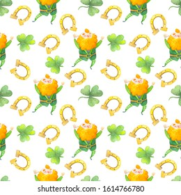 St. Patrick's Day watercolor seamless pattern - clover, horseshoe, Leprechaun, white background.