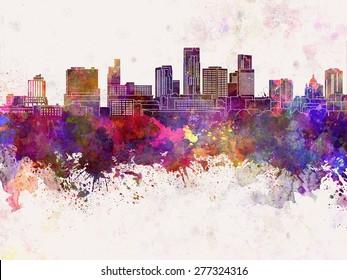 St. Paul skyline in watercolor background