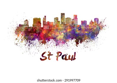 St Paul skyline in watercolor splatters with clipping path