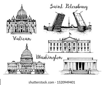 St. Peter's Basilica, Palace Bridge and Peter and Paul Fortress, United States Capitol Building, White House and Lincoln Memorial. World landmarks isolated on white background