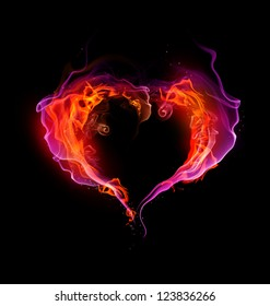 St. Valentine burning heart with flames against dark background