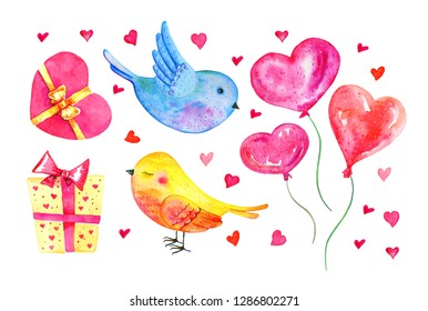 St Valentine's day elements set. Cartoon birds couple, heart balloons, gift boxes. Hand drawn watercolor illustration  isolated on white background
