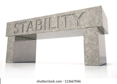Stability carved in stone 3D isolated