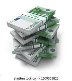 Stack of 100 Euro bank notes - 3D illustration