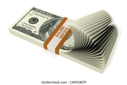 Stack of 10000 Dollars isolated on white