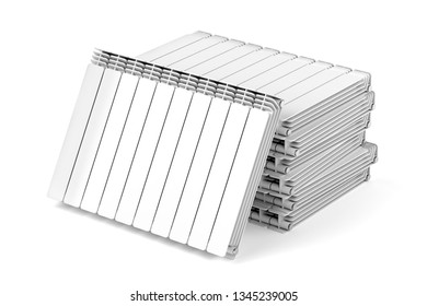 Stack with aluminum heating radiators on white background, 3D illustration