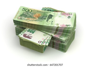 Stack of Argentina Pesos (isolated with clipping path) 3d Rendering