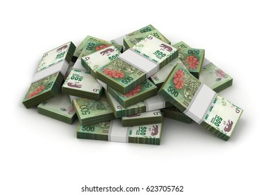 Stack of Argentina Pesos (Isolated on white background) 3D Rendering
