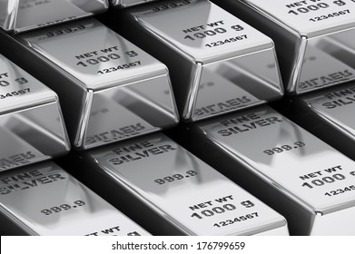 Stack of Bank Silver Bars extreme closeup