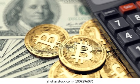 Stack of Bitcoin coins, dollar bills and calculator. Paying taxes on bitcoin investments. 3D rendering