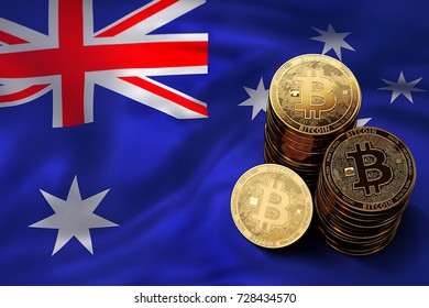 Stack of Bitcoin coins on Australian flag. Situation of Bitcoin and other cryptocurrencies in Australia concept. 3D Rendering