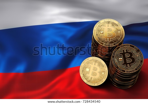 Stack of Bitcoin coins on Russian flag. Situation of Bitcoin and other cryptocurrencies in Russia concept. 3D Rendering