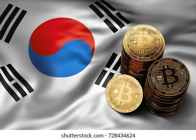 Stack of Bitcoin coins on South Korean flag. Situation of Bitcoin and other cryptocurrencies in South Korea concept. 3D Rendering