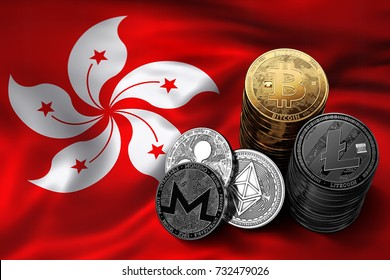 Stack of Bitcoin, Ethereum, Litecoin, Ripple and Monero coins on Hong Kong flag. Situation of Bitcoin and other cryptocurrencies in Hong Kong concept. 3D Rendering
