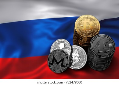 Stack of Bitcoin, Ethereum, Litecoin, Ripple and Monero coins on Russian flag. Situation of Bitcoin and other cryptocurrencies in Russia concept. 3D Rendering