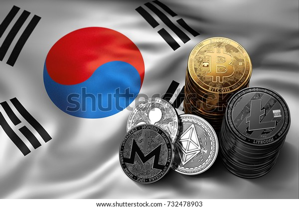 Stack of Bitcoin, Ethereum, Litecoin, Ripple and Monero coins on South Korean flag. Situation of Bitcoin and other cryptocurrencies in South Korea concept. 3D Rendering