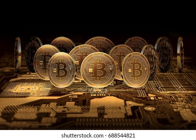 Stack of Bitcoins standing on motherboard. 3D Illustration. Bitcoin domination concept