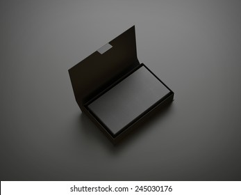 Stack of black business cards in the box