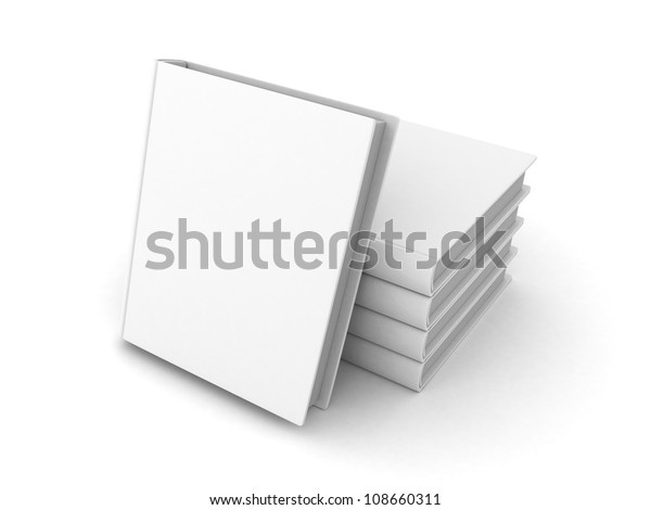 stack of blank books with white cover on white background