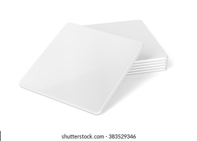 Stack of blank drink coasters on white background