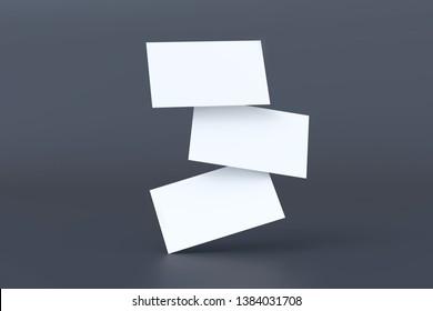 Stack of blank white business cards falling at black background, 3d rendering. Namecard design mockup. Corporate branding mockup.