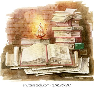 Stack of books. Ancient folios and scrolls. Watercolor illustration.