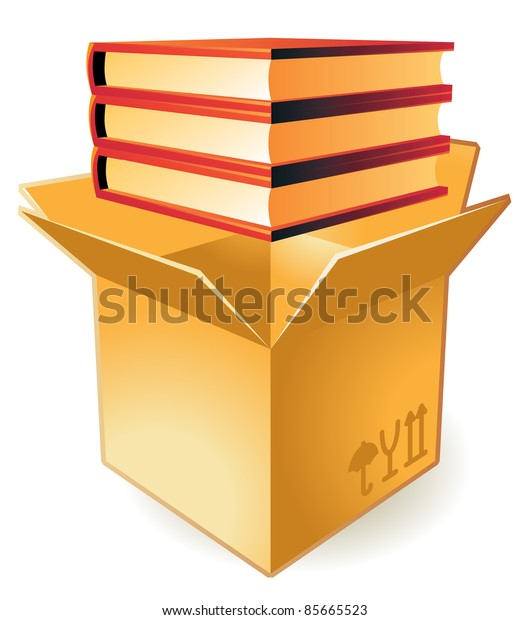 Stack of books in box.